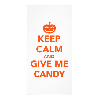 Keep calm and give me candy personalized photo card