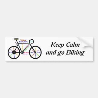 Keep Calm and go Biking, with Motivational Words Bumper Sticker