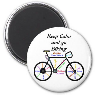 Keep Calm and go Biking, with Motivational Words 6 Cm Round Magnet