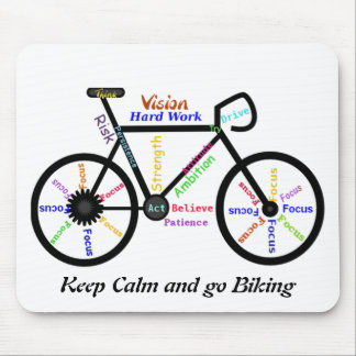 Keep Calm and go Biking, with Motivational Words Mouse Mat