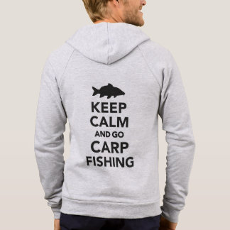 """Keep calm and go carp fishing"" zip-up hoody"