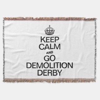 KEEP CALM AND GO DEMOLITION DERBY THROW BLANKET