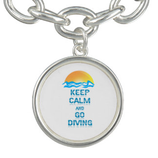 Keep Calm and Go Diving - Round Charm Bracelet
