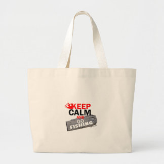 Keep Calm and Go Fishing Large Tote Bag