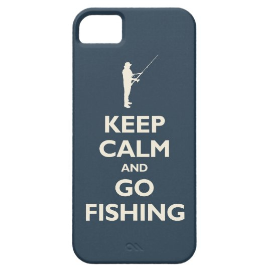 Keep Calm and Go Fishing (navy) iPhone 5 Cases