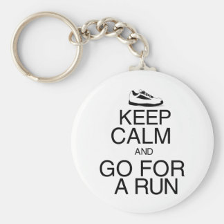 Keep Calm and Go For A Run Basic Round Button Key Ring