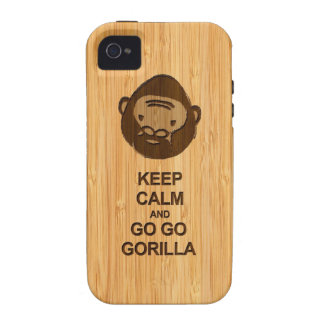 Keep Calm and Go Go Gorilla in Bamboo Look Case-Mate iPhone 4 Covers