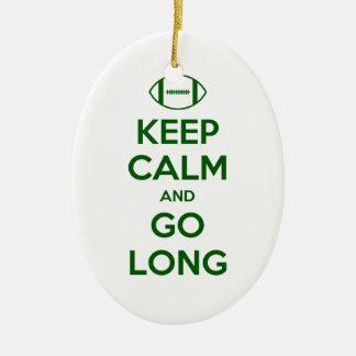 KEEP CALM AND GO LONG - football/sports/nfl Ceramic Oval Decoration