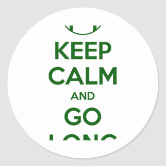 KEEP CALM AND GO LONG - football sports nfl Round Sticker