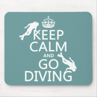 Keep Calm and Go (scuba) Diving (all colors) Mouse Mat