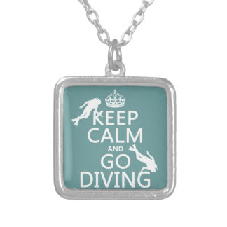 Keep Calm and Go (scuba) Diving (all colors) Silver Plated Necklace