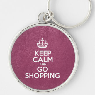 Keep Calm and Go Shopping - Pink Leather Key Ring