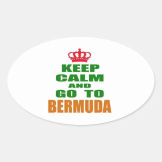 Keep calm and go to Bermuda Oval Sticker
