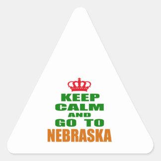 Keep Calm And Go To NEBRASKA. Triangle Stickers