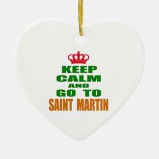 Keep calm and go to Saint Martin. Ceramic Heart Decoration