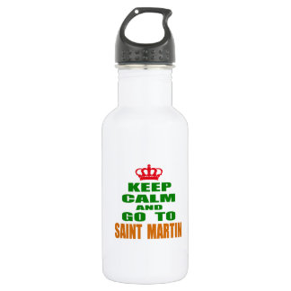 Keep calm and go to Saint Martin. 532 Ml Water Bottle