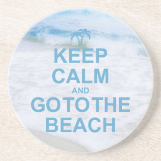 Keep Calm And Go To The Beach Beverage Coaster