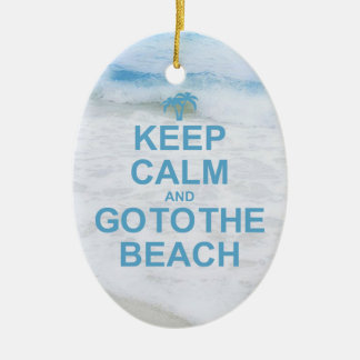 Keep Calm And Go To The Beach Ceramic Oval Decoration