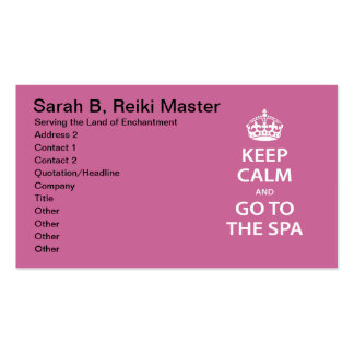 Keep Calm and Go To the Spa Pack Of Standard Business Cards