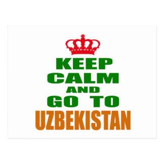 Keep calm and go to Uzbekistan. Postcard