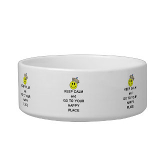 Keep Calm and Go to Your Happy Place Smiley Crown Cat Bowl