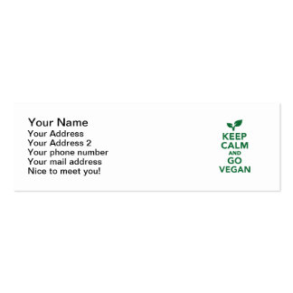 Keep calm and go vegan pack of skinny business cards