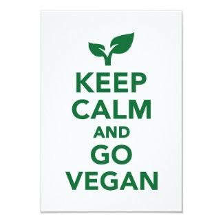 """Keep calm and go vegan 3.5"""" x 5"""" invitation card"""