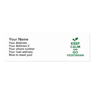 Keep calm and go vegetarian pack of skinny business cards