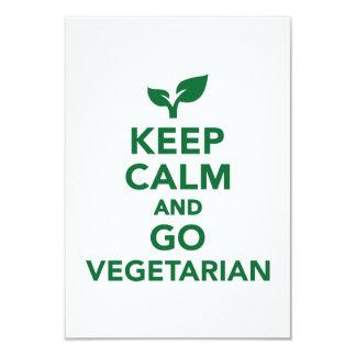 "Keep calm and go vegetarian 3.5"" x 5"" invitation card"