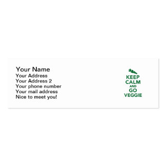 Keep calm and go veggie pack of skinny business cards
