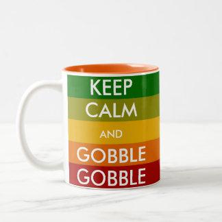 KEEP CALM and GOBBLE GOBBLE Two-Tone Coffee Mug