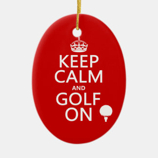 Keep Calm and Golf On - available in all colors Christmas Ornament