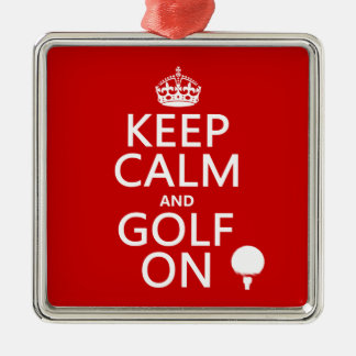 Keep Calm and Golf On - available in all colors Silver-Colored Square Decoration