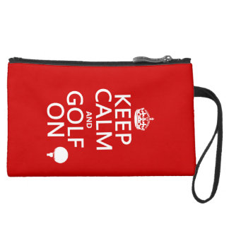 Keep Calm and Golf On - available in all colors Wristlet Purse