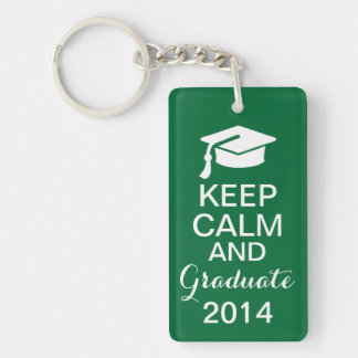 Keep Calm and Graduate 2014 Keychain Green