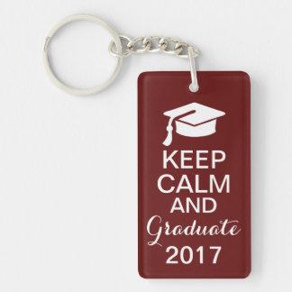 Keep Calm and Graduate 2014 Keychain Maroon