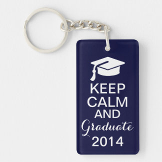 Keep Calm and Graduate 2014 Keychain Navy Blue