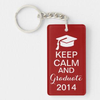 Keep Calm and Graduate 2014 Keychain Red