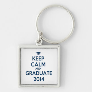 Keep Calm and Graduate 2014 Silver-Colored Square Key Ring