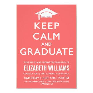 Keep Calm and Graduate Invitation - Peach/ Pink