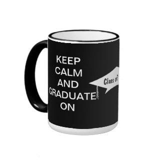 Keep calm and graduate on black and white coffee mugs
