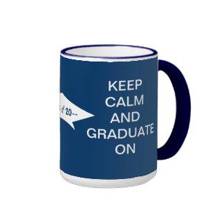 Keep calm and graduate on dark blue and white coffee mug
