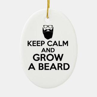 Keep Calm and Grow a Beard Ceramic Oval Decoration