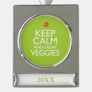 Keep Calm and Grow Veggies Silver Plated Banner Ornament