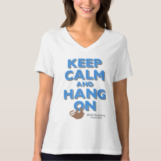 Keep Calm and Hang on Sloth V-neck Women's Tee