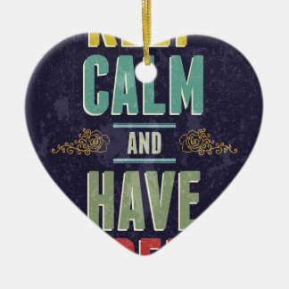 Keep Calm And Have A Beer Ceramic Heart Decoration