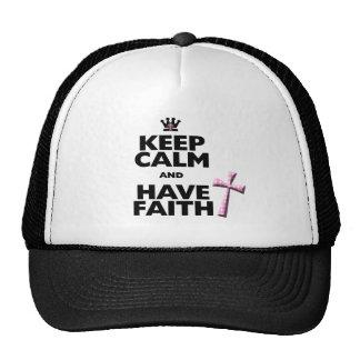 Keep Calm and have Faith pink polka-dot cross hat