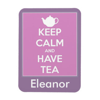 Keep Calm and Have Tea Pink Lavender Personalized Magnet