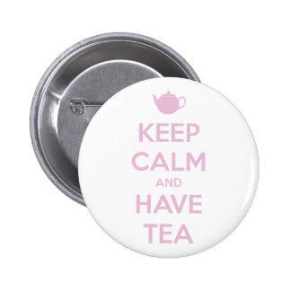 Keep Calm and Have Tea Pink on White 6 Cm Round Badge