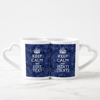 Keep Calm And Have Your Text Navy Digital Camo Lovers Mug
